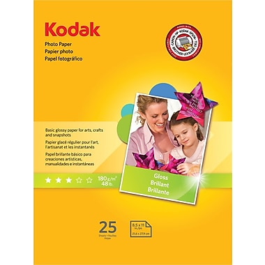 Kodak Photo Paper, White, 8 1/2in.(W) x 11in.(L), 25/Pack