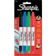 Sharpie ® CD/DVD Marker, Fine/Ultra Fine Point, Assorted, 4/Set
