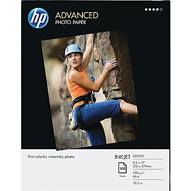 HP Advanced Photo Paper, White, 8 1/2in.(W) x 11in.(L), 100/Pack