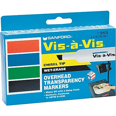 Expo Vis-a-Vis Chisel Point Wet-Erase Marker, Assorted, 4/Pack