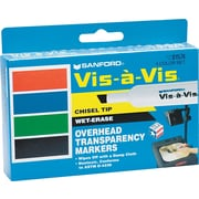 Expo® Vis-a-Vis® Wet Erase Markers, Chisel Tip, Assorted, 4/pk (1574)