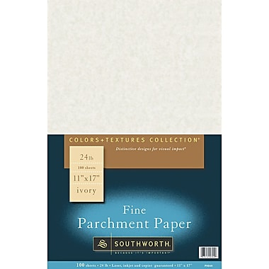Southworth ® Parchment Specialty Paper, Ivory, 11in.(W) x 17in.(L), 100/Box