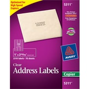 "Avery 1"" x 2.81"" Address Labels for Copiers, Clear, 70/Pack (5311)"