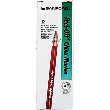 Sharpie® Peel-Off™ China Marker, Red, Dozen