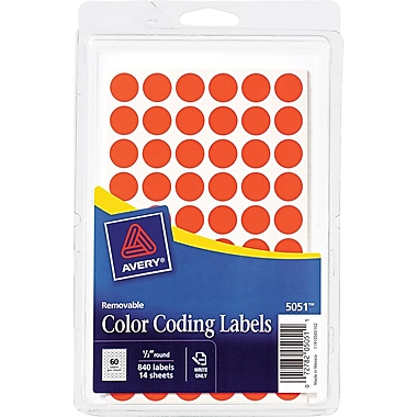 Avery 05051 Removable Self-Adhesive Round Paper Color-Coding Label, Red, 1/2
