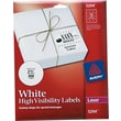 "Avery 2.5"" Dia. Laser High-Visibility Labels, White, 25/Pack (5294)"