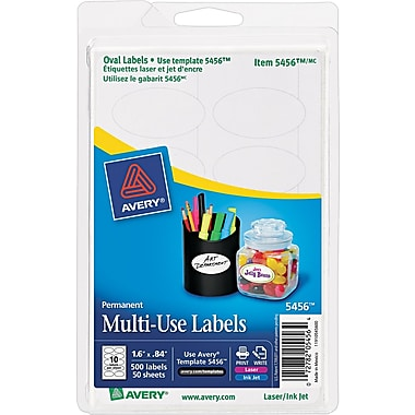 Avery ® 5456 White Unique Shapes Sizes And Textured Paper Label, 1 5/8in.(W) x 3/16in.(L), 500/Pack