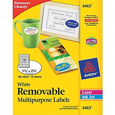 Avery ® 6463 White Unique Shapes Sizes And Textured Paper Label, 1 1/2in.(W) x 2 1/2in.(L), 180/Pack