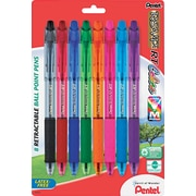 Pentel® R.S.V.P.® RT Retractable Ballpoint Pen, 1 mm Medium, Assorted, 8/Pack