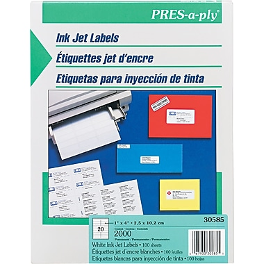 Avery® PRES-a-ply® 30585 White Address Label, 1in.(W) x 4in.(L), 2000/Box
