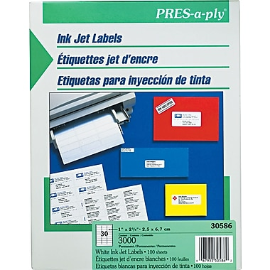 Avery® PRES-a-ply® 30586 White Address Label, 1in.(W) x 2 5/8in.(L), 3000/Box