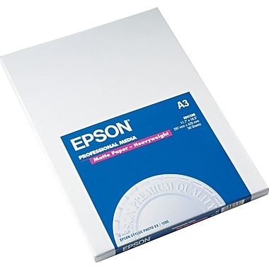 Epson® Premium Matte Presentation Paper, Bright White, 11 3/4in.(W) x 16 1/2in.(L), 50/Pack