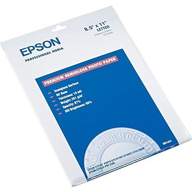 Epson® Premium Semi-Glossy Photo Paper, White, 8 1/2in.(W) x 11in.(L), 20/Pack