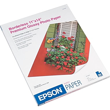 Epson ® Premium Photo Paper, Bright White, 11in.(W) x 14in.(L), 20/Pack