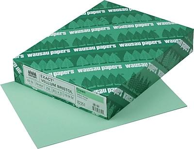 EXACT Vellum Bristol Cardstock 8 1 2 x 11 67 lb. Semi smooth Finish Green 250 Pack