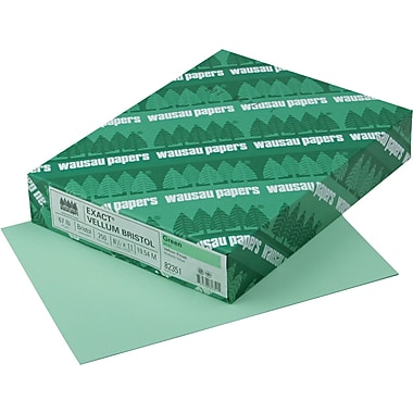EXACT® Vellum Bristol Cardstock, 8 1/2in. x 11in., 67 lb., Semi-smooth Finish, Green, 250/Pack