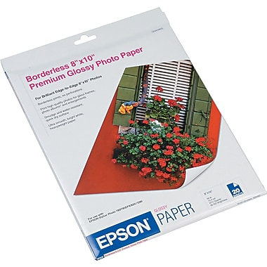 Epson® Premium High Glossy Photo Paper, Bright White, 8in.(W) x 10in.(L), 20/Pack