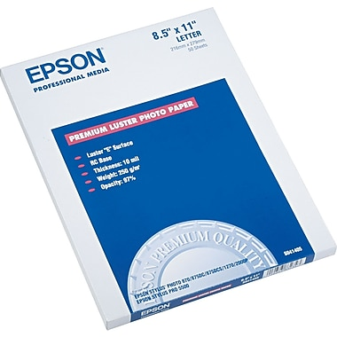 Epson® Ultra Premium Luster Photo Paper, White, 8 1/2in.(W) x 11in.(L), 50/Pack