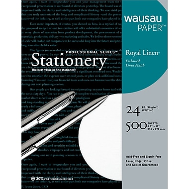 Wausau Paper ® Royal Linen ® Fine Business Paper, White, 8 1/2in.(W) x 11in.(L), 500/Box