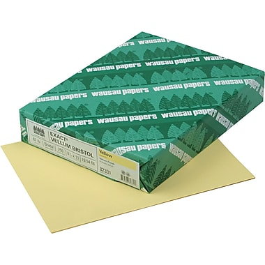 Wausau Paper® Exact® Vellum Bristol Cover Stock, 8 1/2in.(W) x 11in.(L), Yellow, 250 Sheets