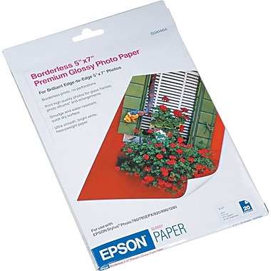 Epson® Premium High Glossy Photo Paper, White, 5in.(W) x 7in.(L), 20/Pack