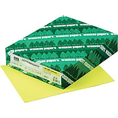 Wausau Paper® Astrobrights® Color Paper, Lift-Off Lemon™, 8 1/2in.(W) x 11in.(L), 500/Ream