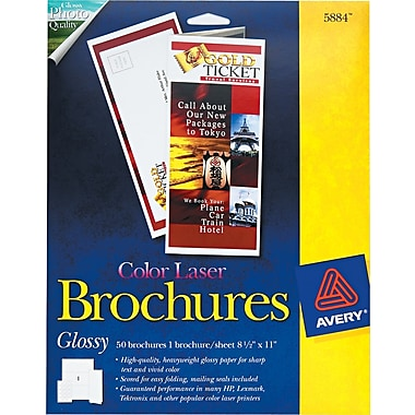 Avery  Tri-Fold Brochure Paper, White, 8 1/2in.(W) x 11in.(L), 50/Pack
