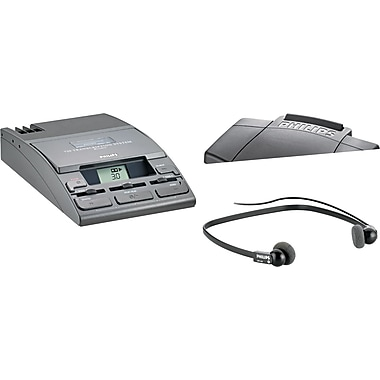 Philips® 720-T Desktop Analog Mini Cassette Transcriber Dictation System With Foot Control, Black
