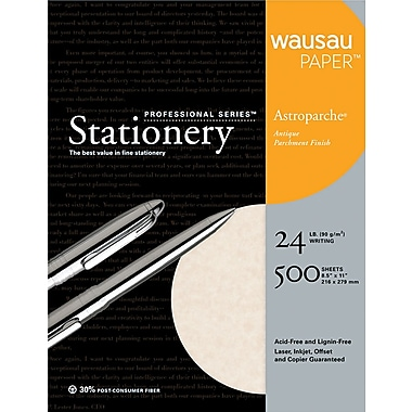 Wausau Paper ® Astroparche ® Fine Business Paper, Natural, 8 1/2in.(W) x 11in.(L), 500/Box