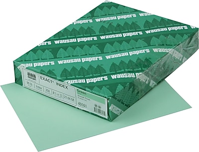 """""EXACT Index Cardstock, 8 1/2"""""""" x 11"""""""", 90 lb., Smooth Finish, Green, 250 sheets"""""" 812232"