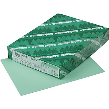 Wausau Paper  Exact  Index Card Stock, 8 1/2in.(L) x 11in.(W), Green, 90 lbs.