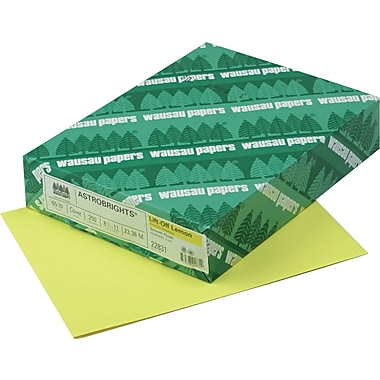 Wausau Paper® Astrobrights® Colored Card Stock, Lift-Off Lemon™, 8 1/2in.(W) x 11in.(L), 250 Sheets