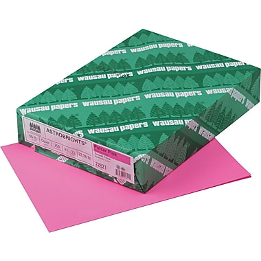 Wausau Paper® Astrobrights® Colored Card Stock, Pulsar Pink™, 8 1/2