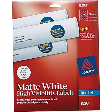 Avery ® 8293 White Print To The Edge Mailing Label, 1 1/2