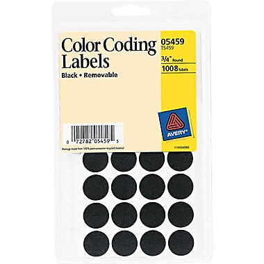 Avery® 05459 Print Or Write Removable Color-Coding Label, Black, 3/4in.(Dia), 1008/Pack