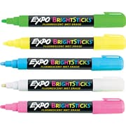 EXPO ® Bright Sticks Wet Erase Fluorescent Marker Set, Bullet Tip, Assorted, 5/Set