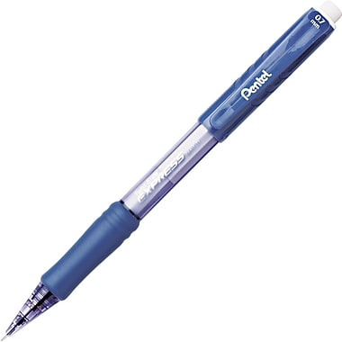 Pentel Twist-Erase Mechanical Pencil, HB-Soft, 0.7 mm (Dia), No. 2 Lead, Blue Barrel, 12/Pack