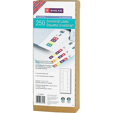 Smead® SmartStrip® 66004 Color-Coded Refill Label Kit, 1 1/2in.(W) x 7 1/2in.(L), 250/Pack