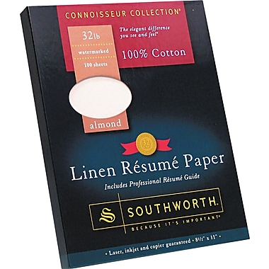 Southworth  100% Cotton Premium Weight Linen Resume Paper, Almond, 8 1/2in.(W) x 11in.(L), 100/Box