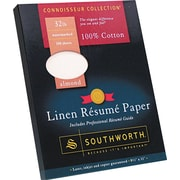 SOUTHWORTH® Linen Resume Paper, 8 1/2 x 11, 32 lb., Linen Finish, Almond, 100/Box