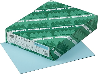 EXACT Index Cardstock 8 1 2 x 11 110 lb. Smooth Finish Blue 250 Pack