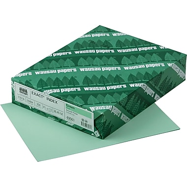 Wausau Paper® Exact® Index Card Stock, 8 1/2in.(L) x 11in.(W), Green, 110 lbs.