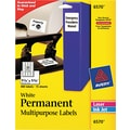 Avery® 6570 White Permanent Durable ID Polyester Label, 1 1/4in.(W) x 1 3/4in.(L), 480/Pack