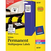 "Avery 1.75"" x 1.25"" Inkjet/Laser Permanent ID Labels, White, 15/Pack (6570)"
