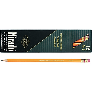 Paper Mate ® Mirado Woodcase Pencil, HB-Soft, No. 2 Lead, Yellow Barrel, Dozen