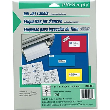 Avery PRES-a-ply 2in. x 4in. Inkjet Address Labels, White, 25/Pack (30583)