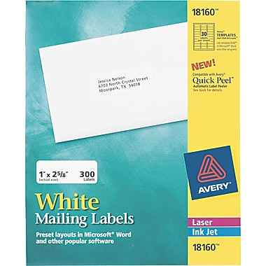 Avery ® Easy Peel ® 18160 White Address Label, 1in.(W) x 2 5/8in.(L), 300/Pack