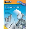 Apollo® Laser Copier Transparency Film With Removable Sensing Stripe, Clear, 8 1/2in.(W) x 11in.(H)