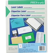 Avery ® PRES-a-ply ® 30604 White Laser Address Label, 3 1/3(W) x 4(L), 600/Box