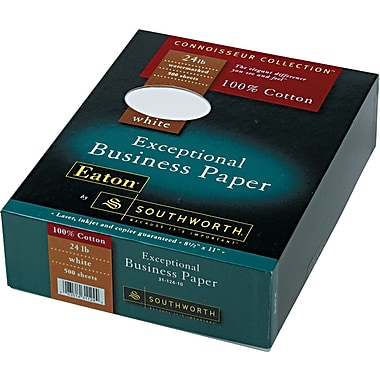 Southworth ® 100% Cotton Business Paper, White, 8 1/2in.(W) x 11in.(L), 500/Box